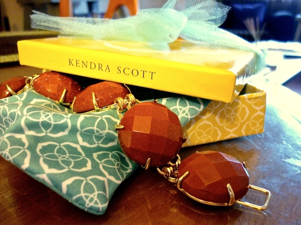 Of course the food pleased our palates, but when the servers appeared with complimentary Kendra Scott jewelry, a fashion frenzy ensued! I think my mother would appreciate the goldstone bracelet - it somewhat resembles burnt orange, the University of Texas's official colors. Thanks, Kendra!
