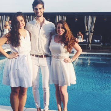 Posing in our creamy white looks.