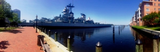 The USS Wisconsin off Norfolk's waterfront