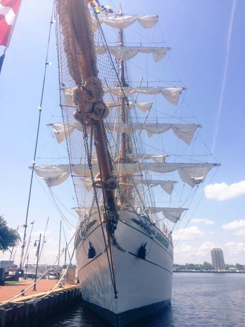 Ship anchored at the marina