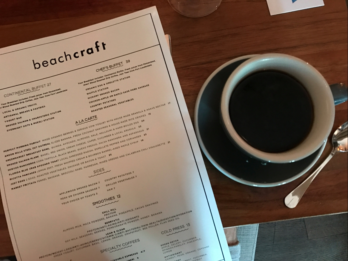 beachcraft miami coffee and menu