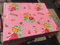 Who doesn't like a plastic pink tablecloths?